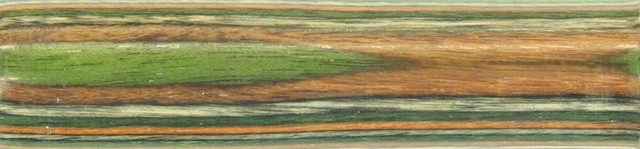 Charnwood Coloured Wooden Pen Blank, Green & Yellow,  20 x 20 x 130mm