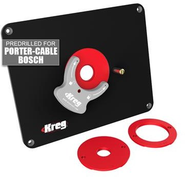 Kreg Precision Router Table Insert Plate w/ Level-Loc Rings (predrilled for Bosch & Porter Cable)