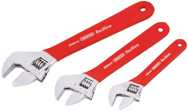 Draper Soft Grip Adjustable Wrench Set (3 Piece)