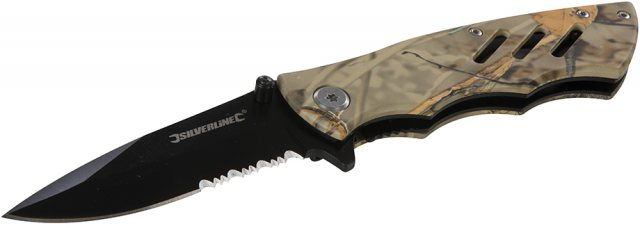 Silverline Folding Camouflage Pocket Knife 195mm
