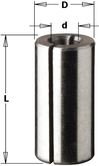 CMT CMT COLLET REDUCER SLEEVE 1/2' TO 1/4' Bushing (6,35-12,7mm-L=25mm)