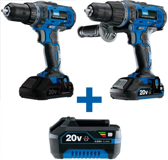 Draper Yandles Storm Force Special Edition Package Deal 20V 4.0AH Hammer Drill + Driver + 3 Li-ion Batterie