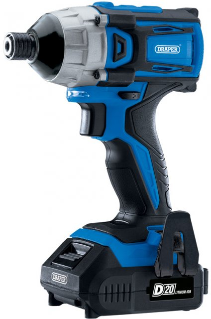 "Draper D20 20V Brushless 1/4"" Impact Driver with 2 x 2Ah Batteries and Charger (180Nm)"