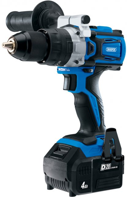 Draper D20 20V Brushless Combi Drill with 4Ah Battery and Fast Charger