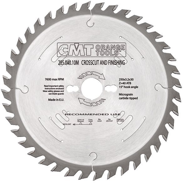 Finishing Crosscut Saw Blade 250X3.2X35 Z60 15Atb