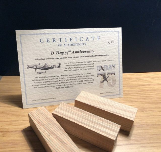 Spitfire MK14 Plane Historic Pen Blank D-Day 75 Years Anniversary