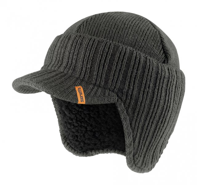 Scruffs Peaked Knitted Hat Graphite One Size