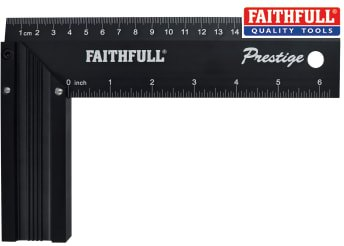 Faithfull Prestige Try Square Black Aluminium 200mm