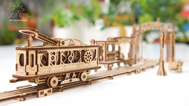 Ugears Ugears Tram Line Mechanical Wooden Model 3D Puzzle