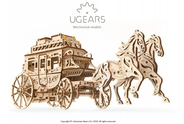 Ugears Ugears Stagecoach  Mechanical Wooden Model 3D Puzzle