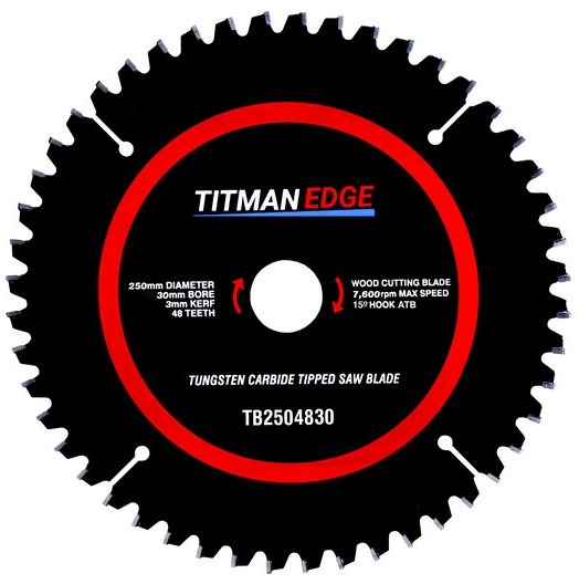 Titman Edge TITMAN EDGE TOOLS - Trade Blade - 250mm diameter 48 tooth 30mm bore TCT fine finish crosscutting saw