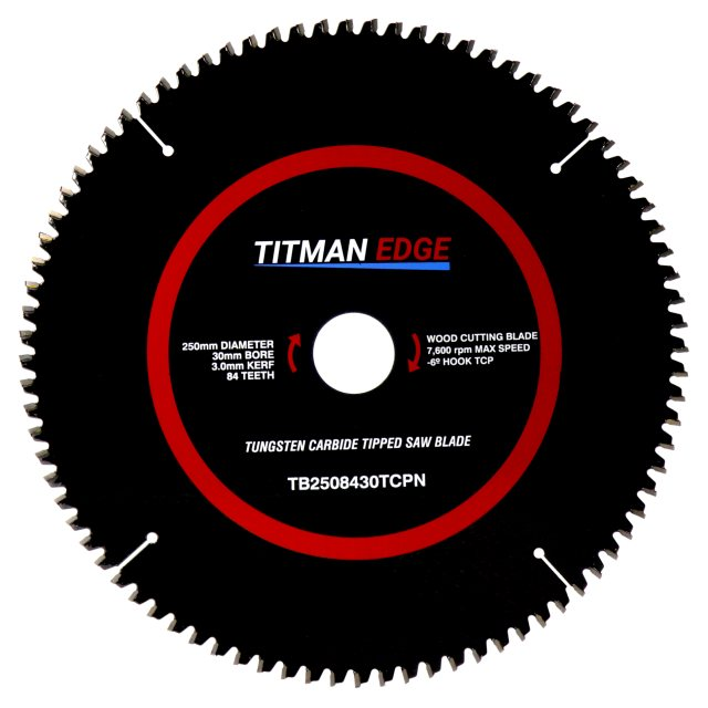 Titman Edge TITMAN EDGE TOOLS - Trade Blade - 250mm diameter 84 tooth 30mm bore TCT for Aluminium & Plastic