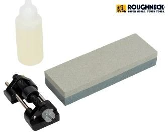 Roughneck Roughneck Chisel Sharpening Kit - Stone + Honing Guide!