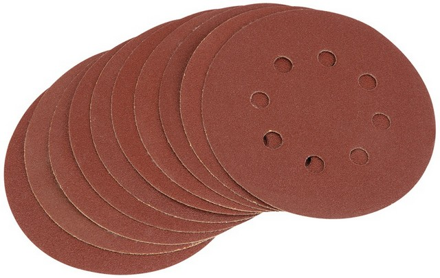 Draper DRAPER Ten 125mm 100 Grit Hook and Loop Sanding Discs